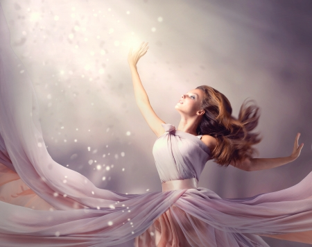 flowing: Beautiful Girl Wearing Long Chiffon Dress  Fantasy Scene
