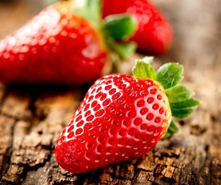 Strawberry over Wooden Background  Strawberries close-up  Stock Photo - 17936546