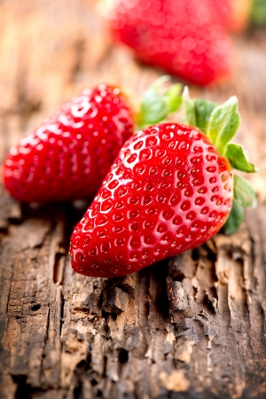 Strawberry over Wooden Background  Strawberries close-up Stock Photo - 17936539