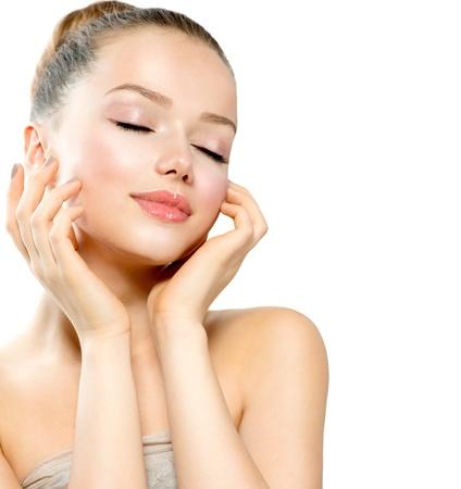 masajes faciales: Belleza Chica Modelo Retrato Cara De La Mujer Hermosa Foto de archivo
