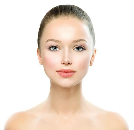 신선한 깨끗 한 피부와 아름다움 여자 아름 다운 젊은 여자