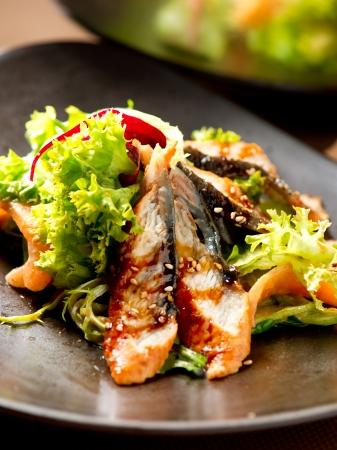 Salad With Smoked Eel with Unagi Sauce  Japanese Food photo