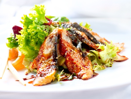japanese culture: Salad With Smoked Eel with Unagi Sauce  Japanese Food