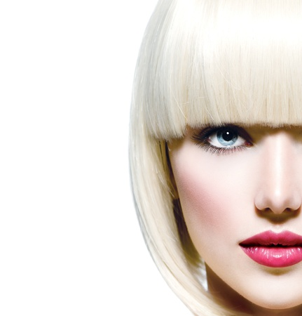 Moda elegante Beauty Ritratto bella ragazza s faccia close-up