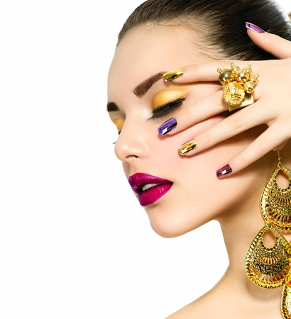 Fashion Beauty  Manicure and Make-up  Nail Art 版權商用圖片