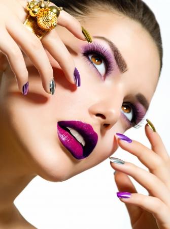 beautiful face: Fashion Beauty  Manicure and Make-up  Nail Art Stock Photo