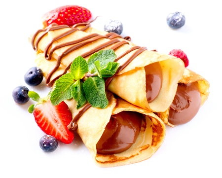 Crepes With Chocolate Cream and Berries  Stock Photo