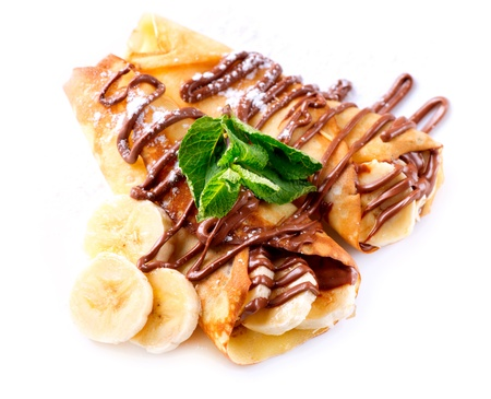 Crepes With Banana And Chocolate  Stock Photo