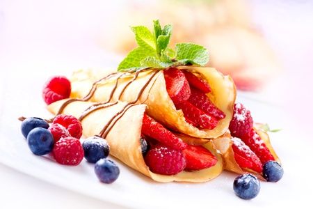 Crepes With Berries  Crepe with Strawberry, Raspberry, Blueberry  photo