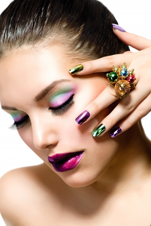 Fashion Beauty  Manicure and Make-up  Nail Art  Stock Photo - 18098409