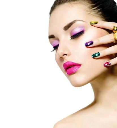 Fashion Beauty Manicure en Make-up Nail Art Stockfoto