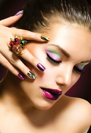 red nail:  Fashion Beauty  Manicure and Make-up  Nail Art  Fashion Beauty  Manicure and Make-up  Nail Art Stock Photo