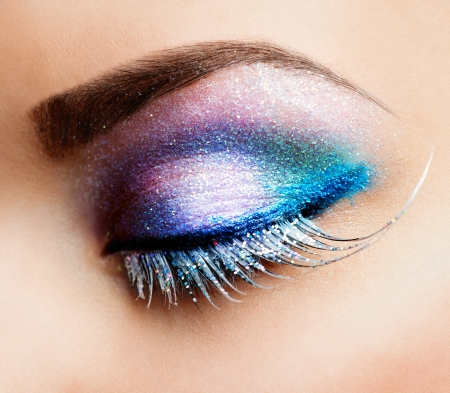 sparkles: Eye Makeup  Beautiful Eyes Glitter Make-up  Stock Photo