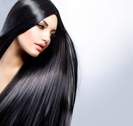 gray hairs: Beautiful Brunette Girl  Healthy Long Hair