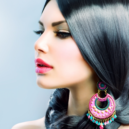earring: Beauty Woman With Long Black Hair  Hairstyle