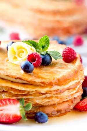 Pancake  Crepes With Berries  Pancakes stack  photo
