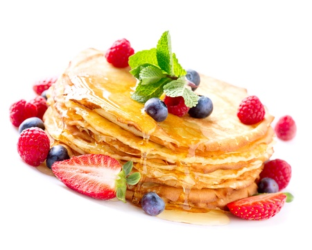 Pancake with Berries  Pancakes Stack over White photo