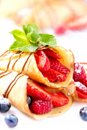Crepes With Berries  Crepe with Strawberry, Raspberry, Blueberry Reklamní fotografie - 18322421