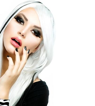 smokey: Beauty Fashion Girl black and white style  Long White Hair Stock Photo
