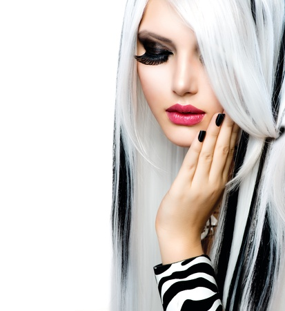 fashion make up: Beauty Fashion Girl black and white style  Long White Hair
