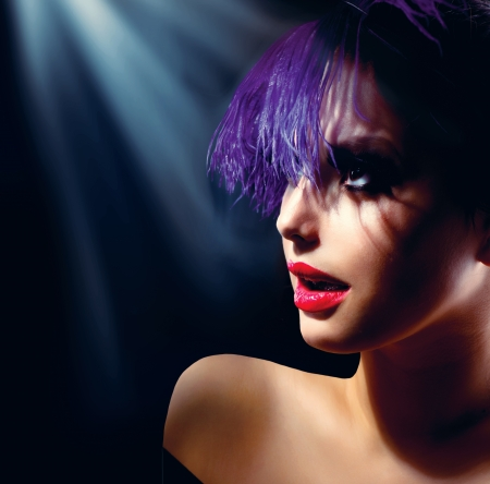 Fashion Art Girl Portrait With Violet Hair  Hairstyle  photo