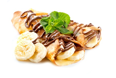 french roll: Crepes With Banana And Chocolate Stock Photo