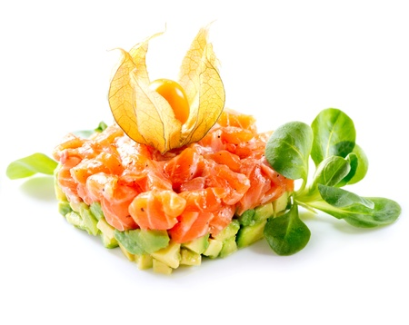 tartar: Salmon Tartar over White Background  Stock Photo