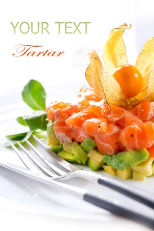 antipasto: Salmon Tartar over White  Stock Photo