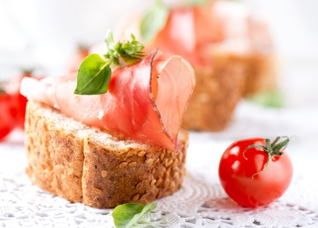 ham sandwich: Jamon  Slices of Bread with Spanish Serrano Ham Served as Tapas