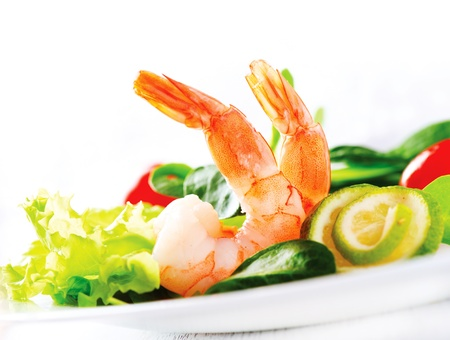 green's: Prawn salad  Healthy Shrimp Salad with mixed greens and tomatoes  Stock Photo