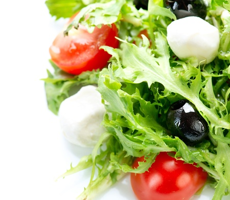mediterranean cuisine: Salad with Mozzarella Cheese  Stock Photo