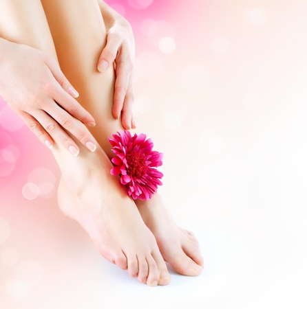 pedicure: Woman s Feet and Hands  Manicure and Pedicure concept