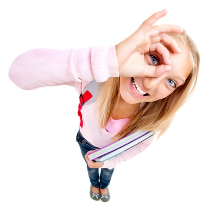 Funny Schoolgirl or Student over white  Stock Photo - 18693532