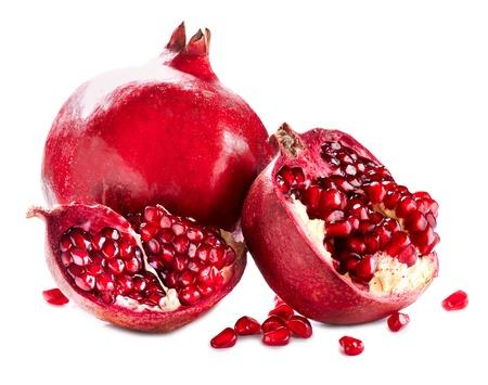 Pomegranates isolated on a White Background  Organic Bio fruits  Stock Photo - 18697288