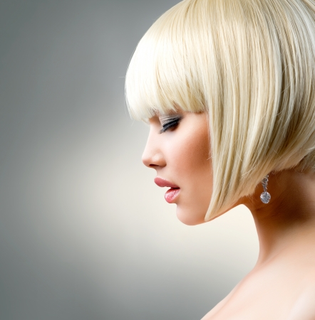 girl short hair: Beautiful Model with Short Blond hair