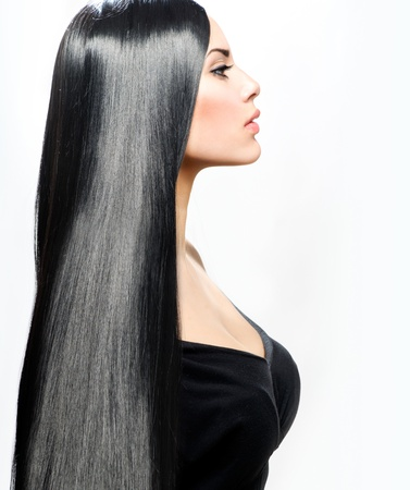 black hair: Beauty Girl with Long Straight Black Healthy Hair Stock Photo