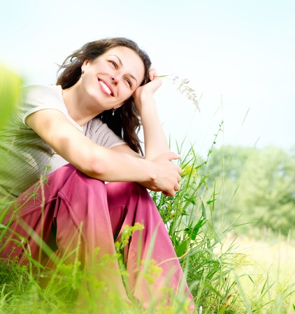 glades: Beautiful Young Woman Outdoors  Enjoy Nature  Meadow