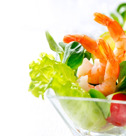 starter: Shrimp or Prawn Cocktail  Isolated on White