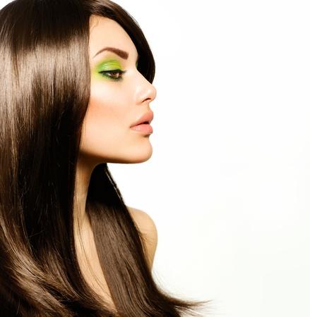 hair salons: Beautiful Brunette Girl  Healthy Long Brown Hair
