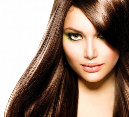 belle brunette: Belle Brunette Girl Healthy Cheveux longs Brown