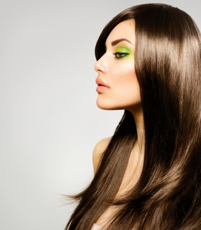 woman profile face: Beautiful Brunette Girl  Healthy Long Brown Hair