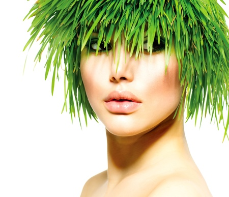 Beauty Spring Woman with Fresh Green Grass Hair  Summer Nature