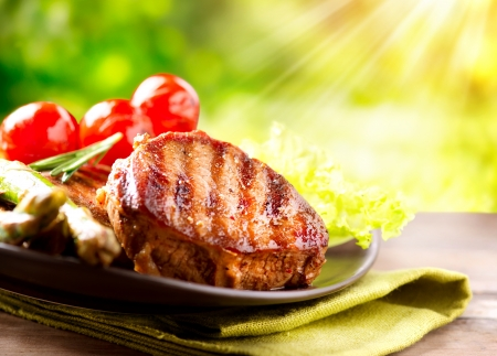 barbecue: Grilled Beef Steak Meat