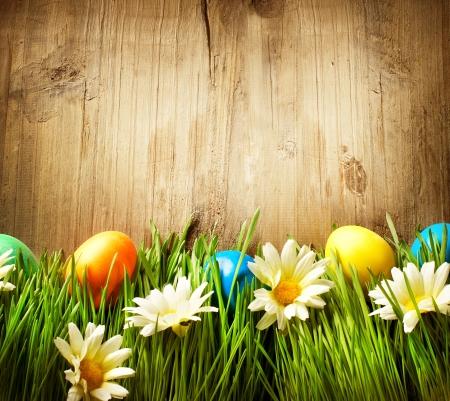 Kleurrijke Paaseieren in het voorjaar van gras en bloemen op hout Stockfoto