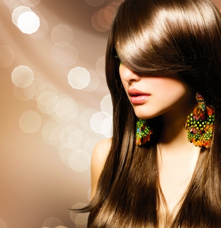 Mooie Brunette Meisje Gezond Lang Bruin Haar