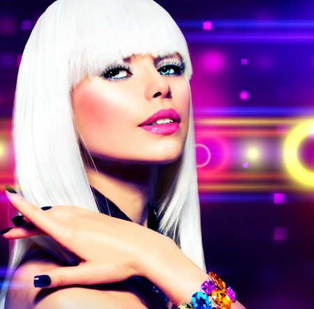 Fashion Disco Party Girl Portrait  Purple Makeup and White Hair  photo
