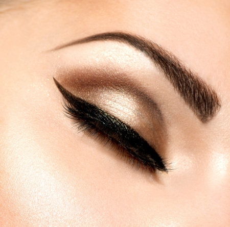 brows: Beautiful Eyes Retro Style Make-up  Stock Photo