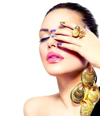 edelstenen: Mode Beauty Manicure en Make-up Nail art Stockfoto