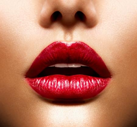 口: セクシーな唇の美しさの赤い唇のメイク