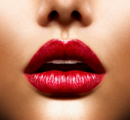 woman open mouth: Sexy Lips  Beauty Red Lips Makeup Stock Photo